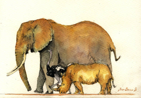 African Elephant Painting - Elephant Ostrich And Rhino by Juan  Bosco