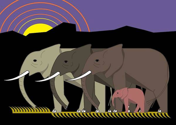 Digital Art - Elephant Parade by Marie Sansone