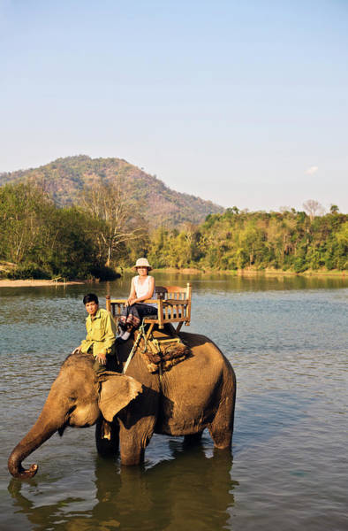 Wall Art - Photograph - Elephant Ride On The Khan River, Luang by Matthew Wakem