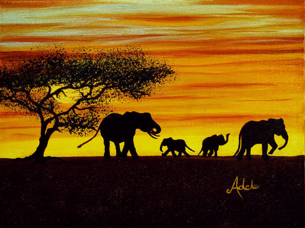 Adele Painting - Elephant Silhouette by Adele Moscaritolo