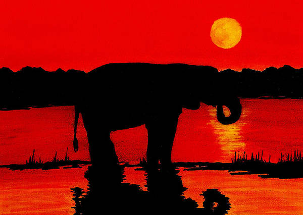 Wall Art - Painting - Elephant Silhouette African Sunset by Michael Vigliotti