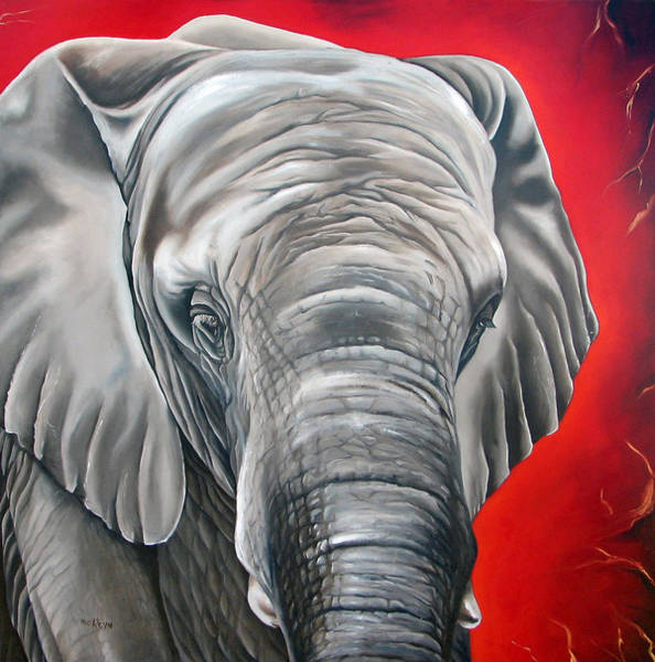 Wall Art - Painting - Elephant Six Of Eight by Ilse Kleyn
