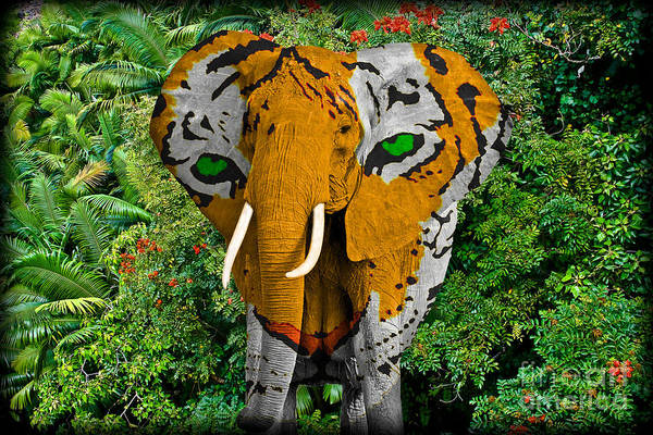 Photograph - Elephant Tiger Abstract by Gary Keesler
