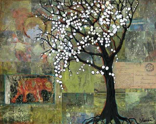 Wall Art - Painting - Elephant Under A Tree by Blenda Studio