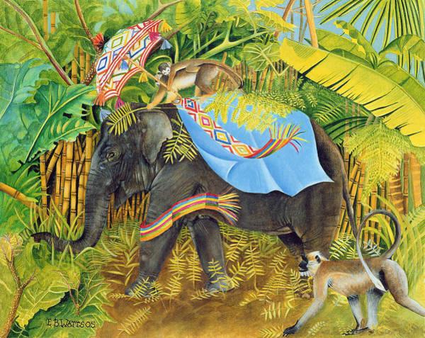 Monkey Wall Art - Photograph - Elephant With Monkeys And Parasol, 2005 Acrylic On Canvas by E.B. Watts