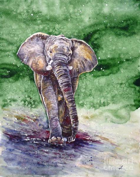Russian Impressionism Wall Art - Painting - Elephant by Zaira Dzhaubaeva