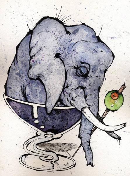 Martini Painting - Elephantini by Mark M  Mellon