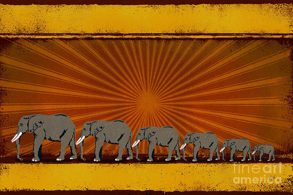 Wall Art - Digital Art - Elephants by Peter Awax