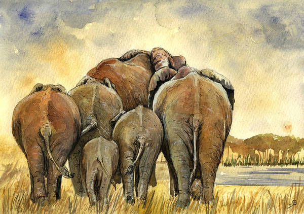 Wall Art - Painting - Elephants Herd by Juan  Bosco