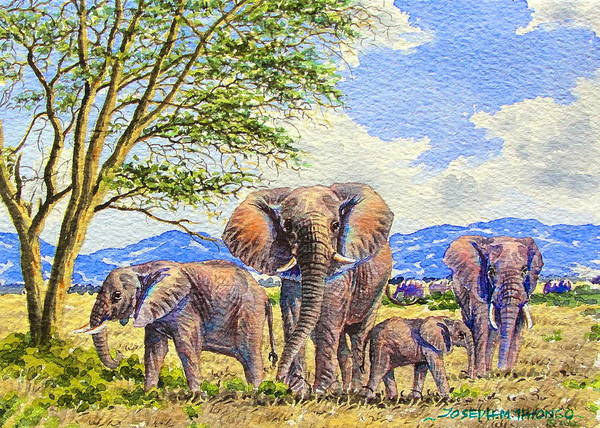 Painting - Elephants by Joseph Thiongo