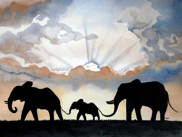 Painting - Elephants by Michal Madison
