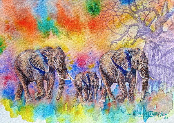 Painting - Elephants On The Move by Joseph Thiongo
