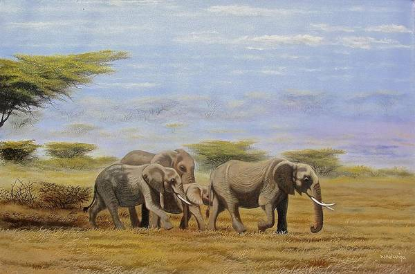 Painting - Elephants Walking by Wycliffe Ndwiga