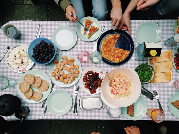 Pizza Photograph - Elevated View Of A Variety Of Meals by Kirsty Lee / Eyeem
