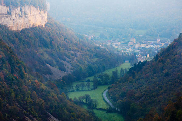 Comte Wall Art - Photograph - Elevated View Of A Village At Morning by Panoramic Images