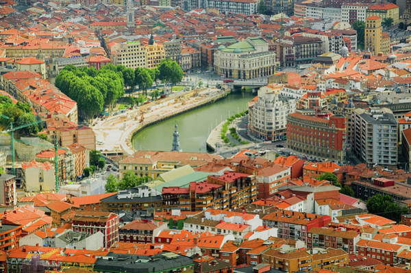 Bilbao Photograph - Elevated View Of Bilbao, Spain Bilbo by Panoramic Images