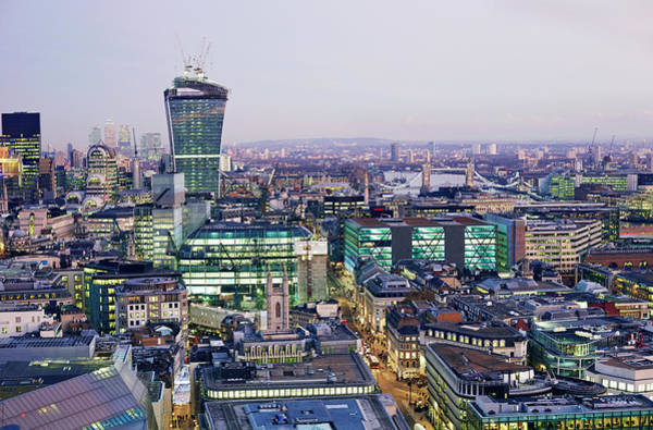 Canary Wharf Photograph - Elevated View Of City Of London At by Allan Baxter