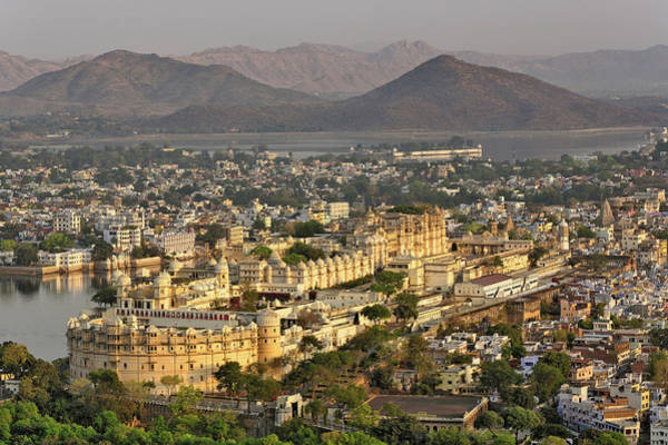 Singh Wall Art - Photograph - Elevated View Of City Palace, Udaipur by Adam Jones