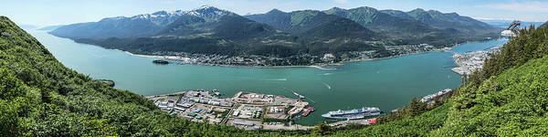 Juneau Photograph - Elevated View Of Harbor With Mount by Panoramic Images