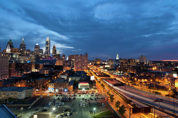 Parking Photograph - Elevated View Of Philadelphia Skyline by Jerry Driendl