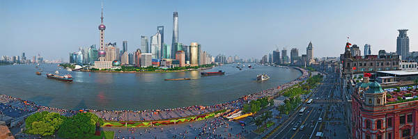 Promenade Photograph - Elevated View Of Skylines, Oriental by Panoramic Images