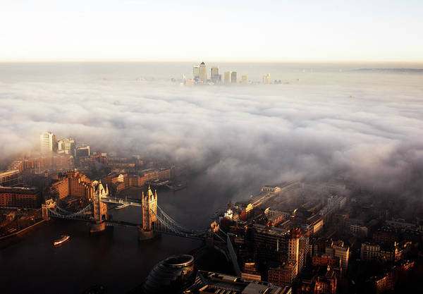 Canary Wharf Photograph - Elevated View Over London Shrouded In by Gary Yeowell