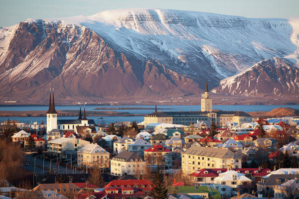 Reykjavik Photograph - Elevated View Over Reykjavik, Iceland by Travelpix Ltd