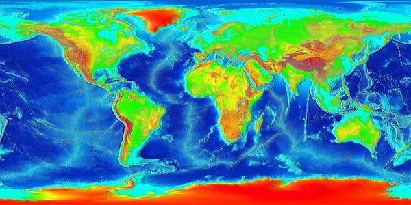 Photograph - Elevation Map Of The World by Sebastian Musial