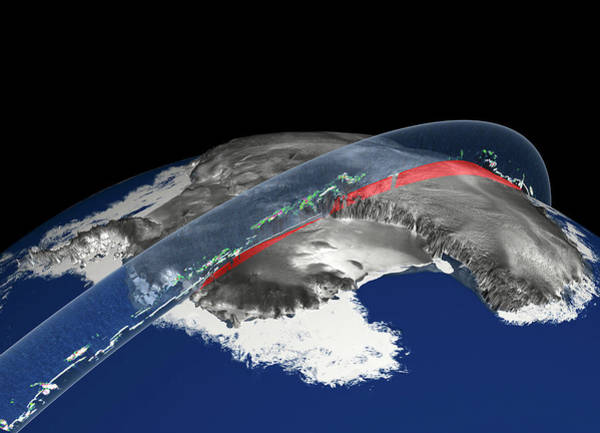 Shelf Cloud Photograph - Elevation Of Antarctic Ice Sheets by Greg Shirah/alex Kekesi/gsfc/nasa/science Photo Library