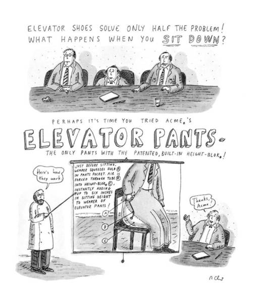 Advertising Drawing - Elevator Pants by Roz Chast