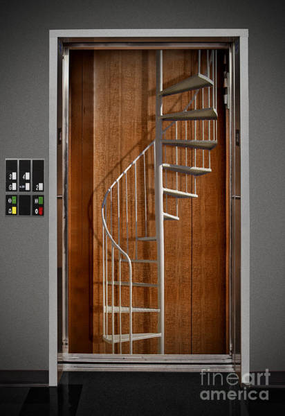 Paradox Photograph - Elevator With Stairs by Mike Agliolo