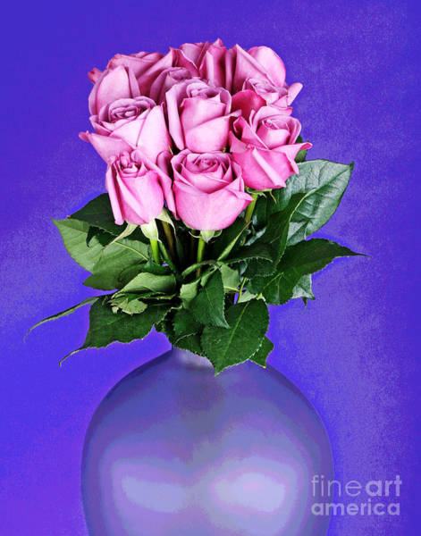 Photograph - Eleven Pink Roses In Purple Vase by Larry Oskin