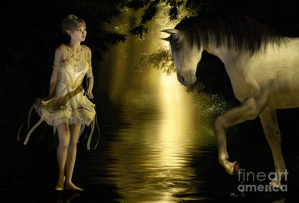 Digital Art - Elf And Horse In Woods At Sunset by Elle Arden Walby