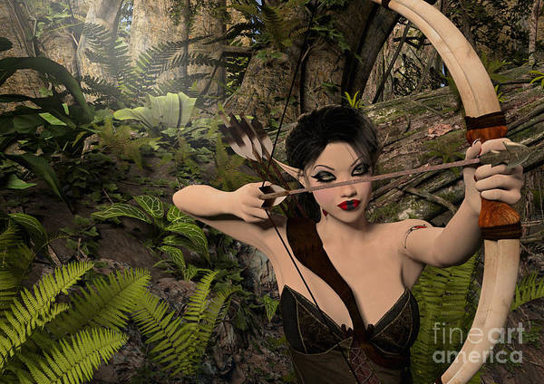 Digital Art - Elf Ranger Taking Aim by Elle Arden Walby