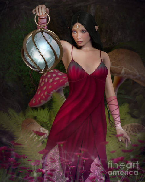 Digital Art - Elf With Lantern by Elle Arden Walby