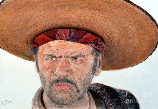 Clint Eastwood Drawing - Eli Wallach As Tuco In The Good The Bad And The Ugly by Jim Fitzpatrick