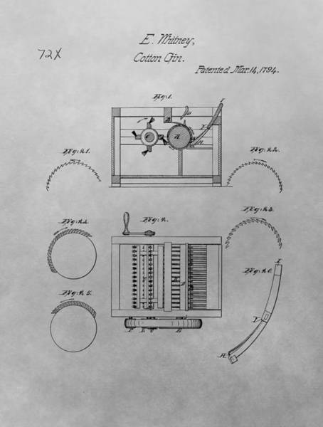 Drawing - Eli Whitney Cotton Gin Patent Drawing by Dan Sproul