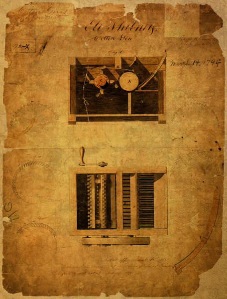 Wall Art - Mixed Media - Eli Whitney Cotton Gin Patent Vintage On Worn Canvas by Design Turnpike