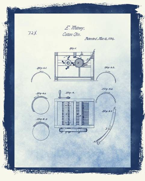 Wall Art - Mixed Media - Eli Whitney's Cotton Gin Patent by Dan Sproul