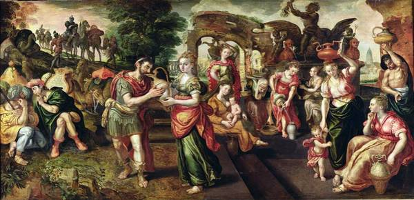 Genesis Photograph - Eliezer And Rebecca At The Well, 1562 Oil On Panel by Maarten de Vos