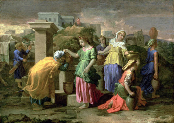 Wall Art - Painting - Eliezer And Rebecca At The Well by Nicolas Poussin