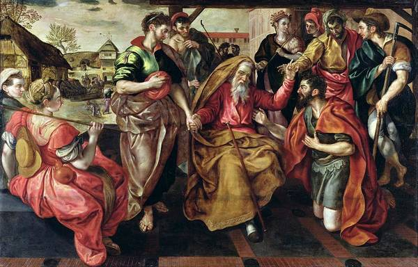 Genesis Photograph - Eliezer Asking For Rebecca To Marry Isaac, 1562 Oil On Panel by Maarten de Vos