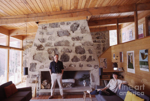 Chalet Photograph - Eliot And Molly Noyes At Their Ski Cabin 1964 by The Harrington Collection