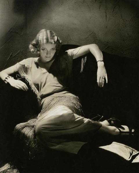 Furniture Photograph - Elissa Landi Posing On A Sofa by Edward Steichen