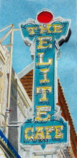 Neon Drawing - Elite Cafe by Glenda Zuckerman