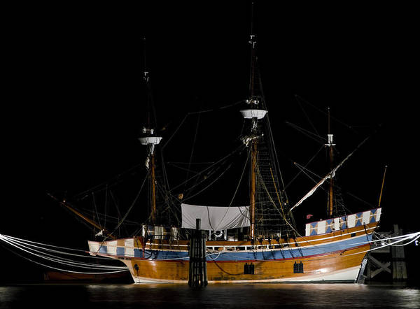 Photograph - Elizabeth II In Port At Night by Greg Reed