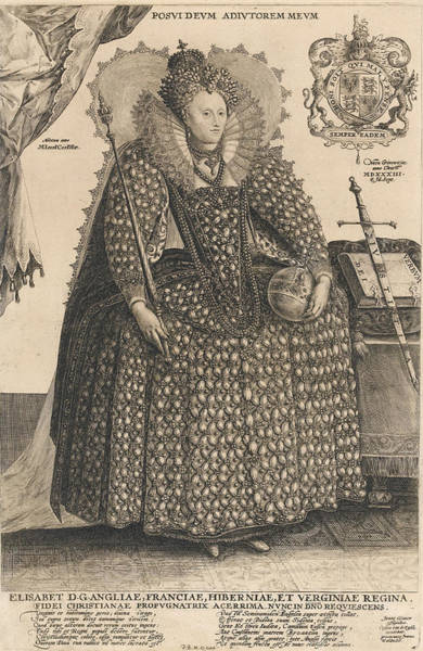 Full Length Drawing - Elizabeth, Queen Of England, C.1603 by Crispin I de Passe