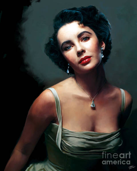 Shower Curtain Painting - Elizabeth Taylor by Paul Tagliamonte