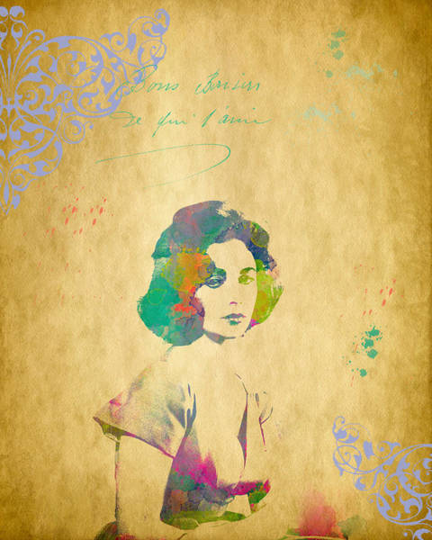 Digital Art - Elizabeth Taylor - Scatter Watercolor by Paulette B Wright