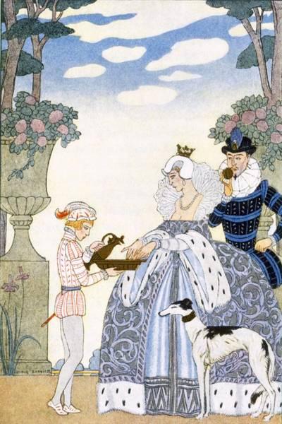 Elegant Dog Painting - Elizabethan England by Georges Barbier